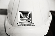 Black and white close-up of a hard-hat used by the restoration crew for the Fox Fullerton theater in downtown Fullerton.
