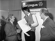 07/01/1983.01/07/1983.7th January 1983.The Aer Lingus Young Scientist Exhibition at the RDS, Dublin...Picture shows L-R Garrett Fitzgerald, Taoiseach presenting the award to Timothy Hickey from Colaiste De La Salle, Macroom, Co. Cork, winner of the Individual project- 'Ecological Study to Save the Garragh - A Rare Freshwater Habitat' and David Kennedy, Chief Executive of Aer Lingus. .