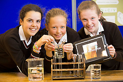 Maria Martinex (14) foreign student from Spain with Aisling Whelan (13), Mount Merrion and Rebecca Reid (12), Blackrock are pictured with their project on Light Refraction at SciFest@ITB 2014. Picture Andres Poveda