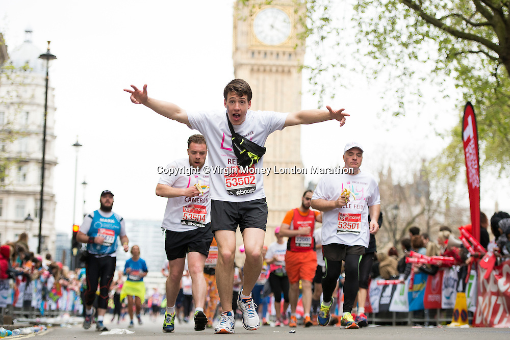 Competitors Run through Parliament Square.<br /> The Virgin Money London Marathon, Sunday 26th April 2015.<br /> <br /> Photo: Thomas Lovelock for Virgin Money London Marathon<br /> <br /> For more information please contact Penny Dain at pennyd@london-marathon.co.uk
