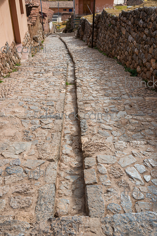 Chincheros town street in the peruvian Andes at Cuzco Peru