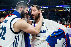 Ziga Dimec of Slovenia and Sasa Zagorac of Slovenia celebrating at Trophy ceremony after winning during the Final basketball match between National Teams  Slovenia and Serbia at Day 18 of the FIBA EuroBasket 2017 when Slovenia became European Champions 2017, at Sinan Erdem Dome in Istanbul, Turkey on September 17, 2017. Photo by Vid Ponikvar / Sportida
