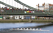 Hammersmith, GREAT BRITAIN,   J15 2nd 8+, Radley pass under Hammersmith Bridge,during the 2008 School Head of the River Race,  04/03/2008  2008. [Mandatory Credit, Peter Spurrier/Intersport-images] Rowing Course: River Thames, Championship course, Putney to Mortlake 4.25 Miles, Hammersmith Bridge
