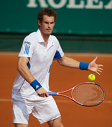 MONTE-CARLO, MONACO - Monday, April 12, 2010: Andy Murray (GBR) during the Men's Doubles 1st Round match at the ATP Masters Series Monte-Carlo at the Monte-Carlo Country Club. (Photo by David Rawcliffe/Propaganda)