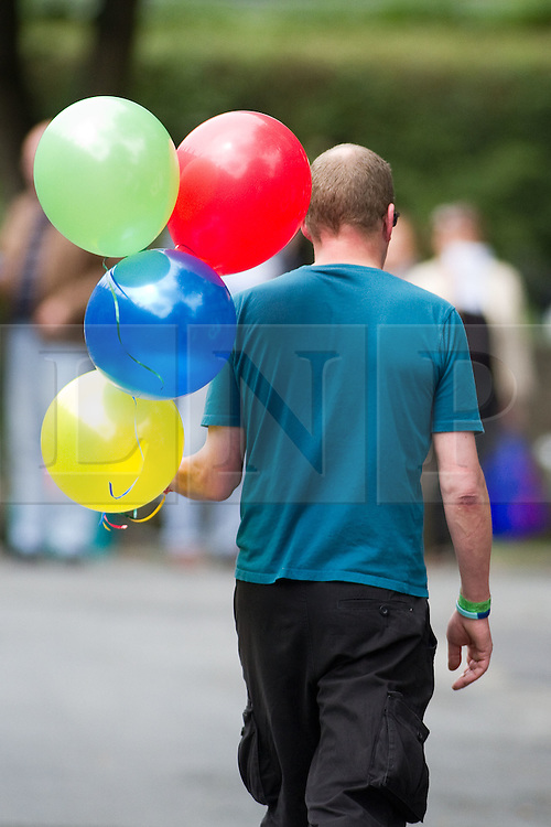 © Licensed to London News Pictures. 19/07/2012. Oldham , UK . The funeral of 2 year old Jamie Heaton , who was killed in a blast in his home on 26/06/2012 . Balloons were brought by mourners which were released in to the sky towards the end of the service . Photo credit : Joel Goodman/LNP