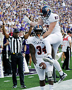 UTSA running back Halen Steward (34) celebrates with Gavin Sharp (87) after scoring a touchdown during the first quarter of a college football game against Kansas State in Manhattan, Kan., Saturday, Sept. 15, 2018. (AP Photo/Colin E. Braley)