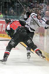 19.12.2014, Lanxess Arena, Koeln, GER, DEL, Koelner Haie vs Nuernberg Ice Tigers, 28. Runde, im Bild v.l. Evan Rankin (Koelner Haie), Marco Nowak (Nuernberg Ice Tigers) // during Germans DEL Icehockey League 28th round match between Koelner Haie vs Nuernberg Ice Tigers at the Lanxess Arena in Koeln, Germany on 2014/12/19. EXPA Pictures © 2014, PhotoCredit: EXPA/ Eibner-Pressefoto/ Kohring<br /> <br /> *****ATTENTION - OUT of GER*****