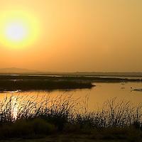 Sunset in the Yellow river at  Inner Mongolia, China<br />Photos: Bernardo De Niz