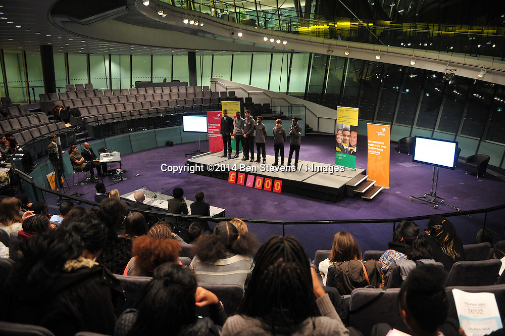 Image &copy;Licensed to i-Images Picture Agency. 12/12/2014. London, United Kingdom. <br /> <br /> Youth Club members from all around London take part in The Mayors Fund City Pitch 2014 at City Hall, London, UK.<br /> <br /> Picture by Ben Stevens / i-Images