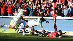 Jaco Kriel scores during the semi final of the Vodacom Super Rugby 2016 season between the Lions and the Highlanders held at the Emirates Airline Park in Johannesburg, South Africa on the 30th July 2016Photo by Real Time Images