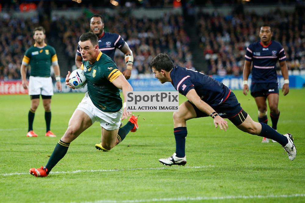 LONDON, ENGLAND - OCTOBER 7:  Jesse Kriel of South Africa in action during the 2015 Rugby World Cup Pool B match between South Africa and USA at The Stadium, Queen Elizabeth Olympic Park on October 7, 2015 in London, England. (Credit: SAM TODD | SportPix.org.uk)