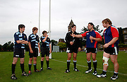 Photo: Richard Lane.<br /> New Zealand Maori training at Rugby School. Barclays Churchill Cup 2007. 21/05/2007. <br /> Maori's Keith Cameron (c) and Aled de Malmanche (rt) coach pupils from the school.