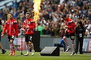 Barnsley players enter the pitch during the Sky Bet League 1 play off final match between Barnsley and Millwall at Wembley Stadium, London, England on 29 May 2016. Photo by Simon Davies.