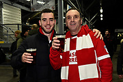 Middlesbrough fans ahead of the EFL Sky Bet Championship match between Fulham and Middlesbrough at Craven Cottage, London, England on 17 January 2020.