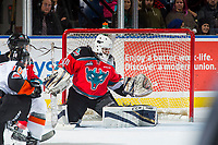 KELOWNA, CANADA - NOVEMBER 25: Roman Basran #30 of the Kelowna Rockets defends the net against the Medicine Hat Tigers on November 25, 2017 at Prospera Place in Kelowna, British Columbia, Canada.  (Photo by Marissa Baecker/Shoot the Breeze)  *** Local Caption ***