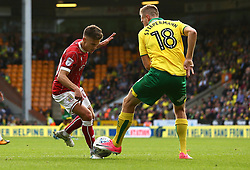 Jamie Paterson of Bristol City takes on Marco Stiepermann of Norwich City - Mandatory by-line: Robbie Stephenson/JMP - 23/09/2017 - FOOTBALL - Carrow Road - Norwich, England - Norwich City v Bristol City - Sky Bet Championship