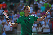 KEY BISCAYNE, FL - MARCH 30: Roger Federer of Switzerland celebrates his win against Tomas Berdych of the Czech Republic during Day 11 of the Miami Open at Crandon Park Tennis Center on March 30, 2017 in Key Biscayne, Florida. (Photo by Mauricio Paiz)