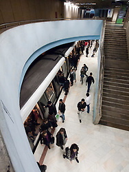 Interior of subway station on metro system in Bucharest Romania