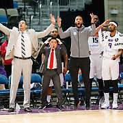 The Reno Bighorn bench reacts during a play on the court during the NBA G-League Basketball game between the Reno Bighorns and the Raptors 905 at the Reno Events Center in Reno, Nevada.