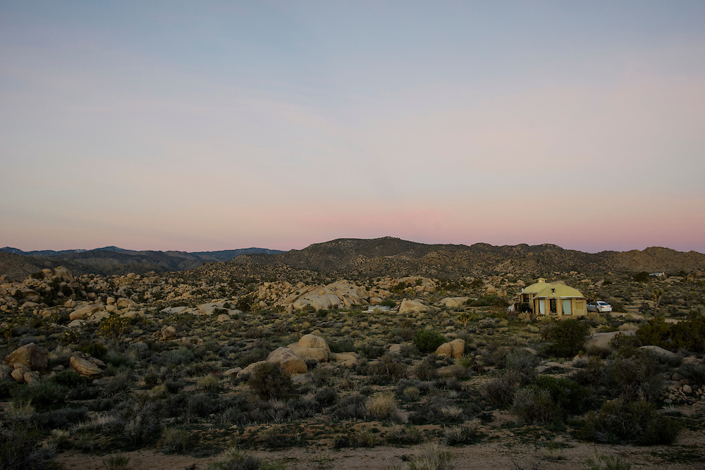 Pioneertown, California - March 14, 2015: Sunrise at the Dragonfly Desert Retreat in the Mojave Desert. CREDIT: Matt Roth