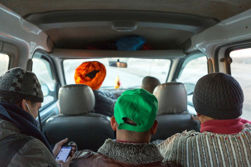 Grand taxi (shared collective taxi) journey, Merzouga, Morocco, Merzouga, Morocco 2017-12-21.