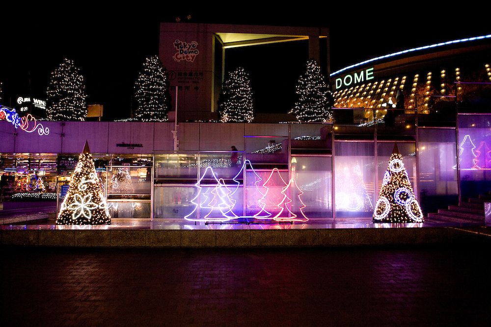 Christmas lights in Tokyo's  Dome city Office, Sports  and shopping complex