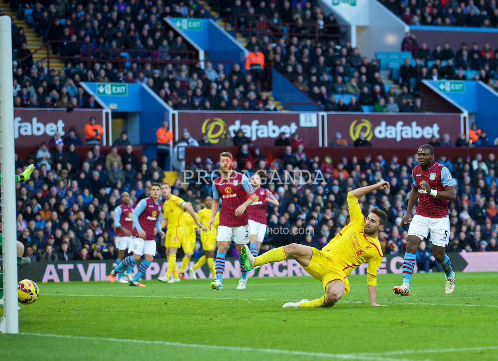 BIRMINGHAM, ENGLAND - Saturday, January 17, 2015: Liverpool's Fabio Borini scores the first goal against Aston Villa during the Premier League match at Villa Park. (Pic by David Rawcliffe/Propaganda)