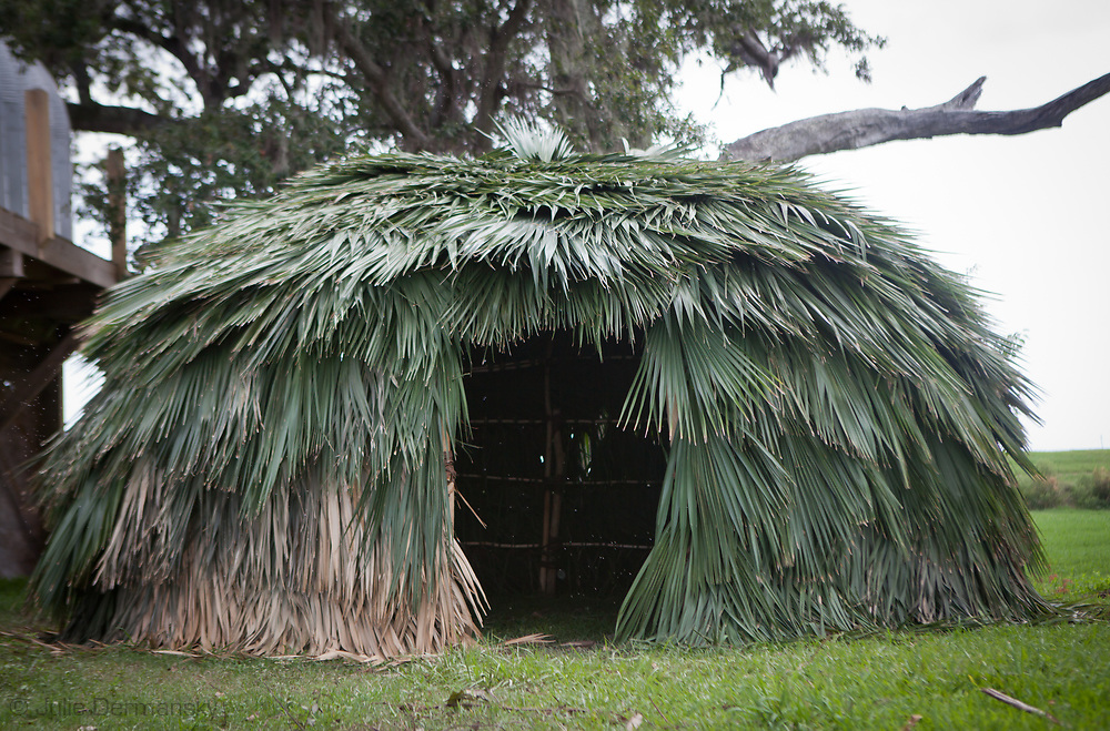 A Palmetto hut built by elders in the Pointe-au-Chien tribe for a summer camp session for the tribes' children to expose them to their disappearing culture. The local tribes may well become America's first climate change refugees forced to leave the area do to rising water.