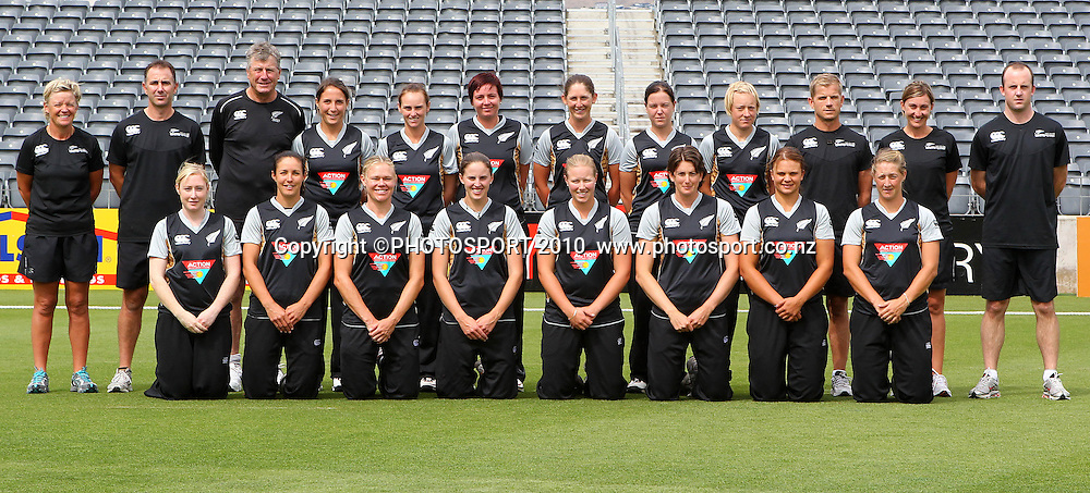 Whiteferns team photo. Women's International Twenty20 cricket match - New Zealand White Ferns v Australia Southern Stars at AMI Stadium, Christchurch. Sunday 28 February 2010.