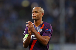 Manchester City's Vincent Kompany applauds the fans after the final whistle
