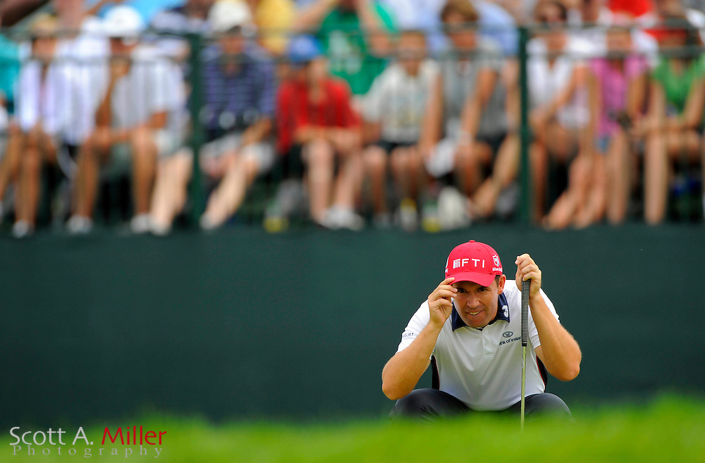Aug 15, 2009; Chaska, MN, USA; Padraig Harrington (IRL) lines up a putt on  the 11th green during the third round of the 2009 PGA Championship at Hazeltine National Golf Club.  ©2009 Scott A. Miller