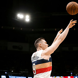 Mar 24, 2019; New Orleans, LA, USA; New Orleans Pelicans guard Dairis Bertans (9) shoots a three point basket against the Houston Rockets during the second half at the Smoothie King Center. Mandatory Credit: Derick E. Hingle-USA TODAY Sports