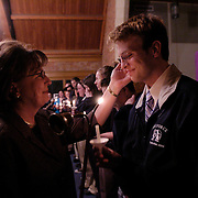 (03/09/06).Mother Randi Reitan caresses her son Jake Reitan's face as they celebrate and prepare for the Equality Riders journey at First Christian Church in Lynchburg, VA.(Times Photo Willie J. Allen Jr.)