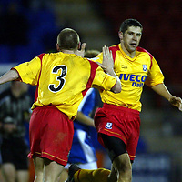 St Johnstone v Ayr Utd..  16.11.02<br />David Craig celebrates his second goal with Paul Lovering<br /><br />Pic by Graeme Hart<br />Copyright Perthshire Picture Agency<br />Tel: 01738 623350 / 07990 594431