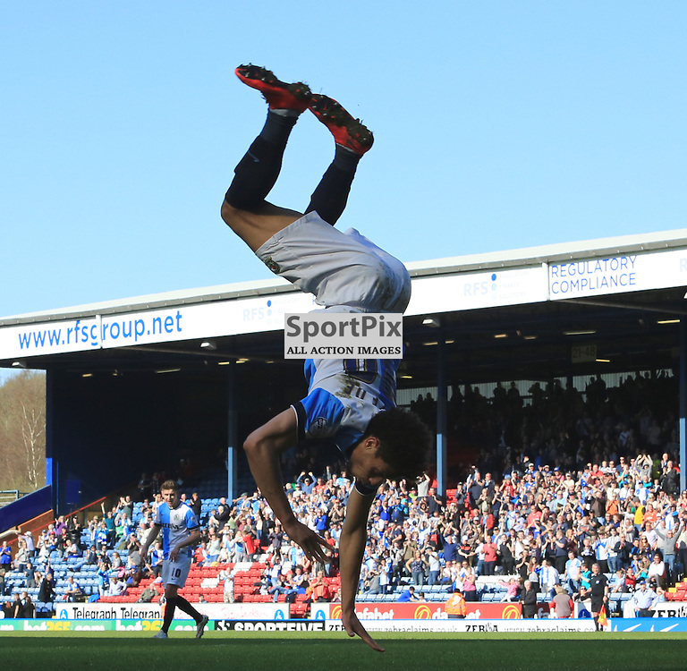 Rudy Gestede celebrates his Hat-Trick with some acrobatics during the Blackburn Rovers  FC v Nottingham Forest FC Sky Bet Championship 18th April 2015 (c) EDDIE LINTON | SportPix.org.uk