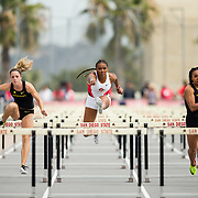 23 March 2018: Asia Smith competes in the 100 meter hurdles on the final day of the 43rd annual Aztec Invitational.<br /> More game action at sdsuaztecphotos.com