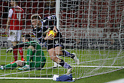 Matt Mills collects the ball after scoring during the Sky Bet Championship match between Rotherham United and Bolton Wanderers at the New York Stadium, Rotherham, England on 27 January 2015. Photo by Richard Greenfield.