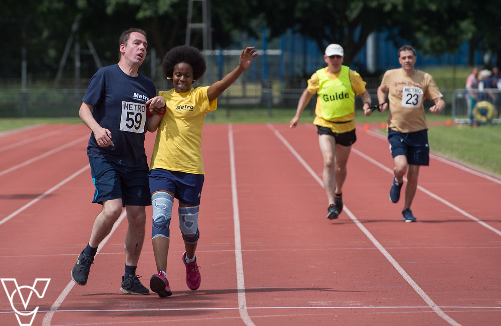 Metro Blind Sport's 2017 Athletics Open held at Mile End Stadium.  200m Senior Men - Final.  Vanja Sudar with guide runner <br /> <br /> Picture: Chris Vaughan Photography for Metro Blind Sport<br /> Date: June 17, 2017