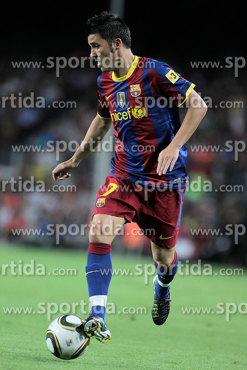 21.08.2010, Stadion Camp Nou, Barcelona, ESP, Supercup, FC Barcelona vs FC Sevilla, im Bild FC Barcelona's David Villa during SuperCup of Spain Final match. EXPA Pictures © 2010, PhotoCredit: EXPA/ Alterphotos/ Acero +++++ ATTENTION - OUT OF SPAIN / ESP +++++ / SPORTIDA PHOTO AGENCY