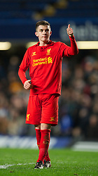 LONDON, ENGLAND - Friday, April 19, 2013: Liverpool's Daniel Trickett-Smith looks dejected after losing 2-1 (4-1 on aggregate) to Chelsea during the FA Youth Cup Semi-Final 2nd Leg match at Stamford Bridge. (Pic by David Rawcliffe/Propaganda)