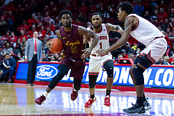 NORMAL, IL - January 19: Keith Clemons drives for the lane doubled on by Dedric Boyd and Jaycee Hillsman during a college basketball game between the ISU Redbirds and the Loyola University Chicago Ramblers on January 19 2020 at Redbird Arena in Normal, IL. (Photo by Alan Look)