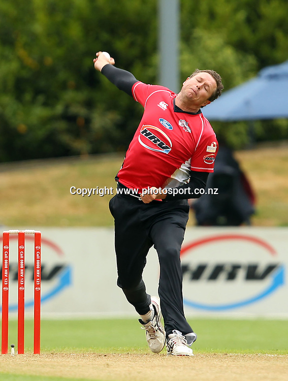 Mitchell Claydon in action for the Wizards.<br /> Twenty20 Cricket - HRV Cup, Otago Volts v Canterbury Wizards, 13 January 2012, University Oval, Dunedin, New Zealand.<br /> Photo: Rob Jefferies/PHOTOSPORT