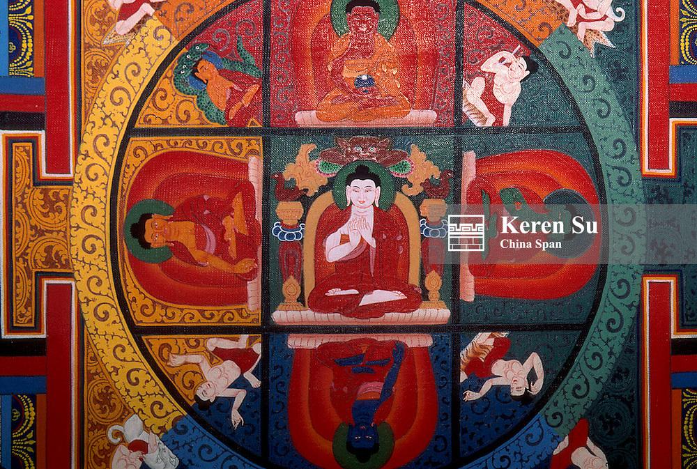 """Painting """"Tang Ka"""", Tibetan Buddhist painting on the wall, Tibet, China"""