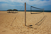 An empty beach with a net to play voleyball in cabo San Lucas, Baja California, Mexico.