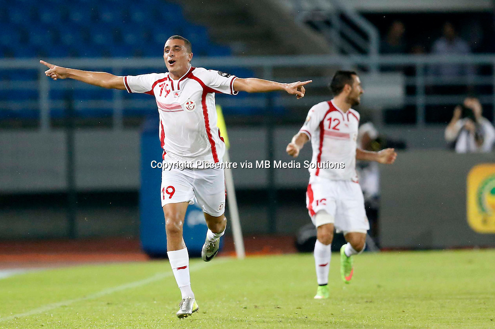 Yasine Chikhaoui, the captain of Tunisia celebrates after scoring against RD Congo during their AFCON match at the Estadio de Bata on January 26, 2014.Photo/Mohammed Amin/www.pic-centre.com (Equatorial Guinea)