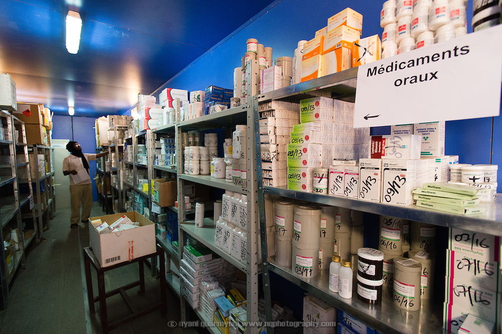 A converted shipping container used as a pharmaceutical store by Médecins Sans Frontières (MSF) in Bassikounou, Mauritania on 4 March 2013. Bassikounou is the staging point for MSF's operations in the Mbera refugee camp for Malian refugees.