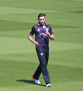 Gloucestershire bowler Matt Taylor during the NatWest T20 Blast South Group match between Sussex County Cricket Club and Gloucestershire County Cricket Club at the BrightonandHoveJobs.com County Ground, Hove, United Kingdom on 17 May 2015. Photo by Bennett Dean.
