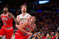 25 December 2011: Center Joakim Noah of the Chicago Bulls boxes out Pau Gasol of the Los Angeles Lakers for a rebound during the second half of the Bulls 88-87 victory over the Lakers at the STAPLES Center in Los Angeles, CA.
