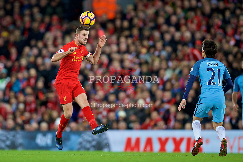LIVERPOOL, ENGLAND - Saturday, December 31, 2016: Liverpool's captain Jordan Henderson in action against Manchester City during the FA Premier League match at Anfield. (Pic by David Rawcliffe/Propaganda)