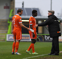 Braintree Town Manager, Alan Devonshire gives instructions to Braintree Town's Matt Paine - Photo mandatory by-line: Nizaam Jones - Mobile: 07966 386802 - 14/03/2015 - SPORT - Football - Nailsworth - The New Lawn - Forest Green Rovers v Braintree  - Vanarama Football Conference.